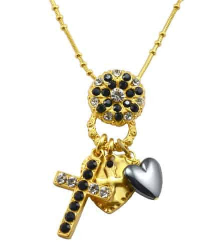 Mariana Gold Plated Checkmate Swarovski Crystal Cross Charm Necklace in Jet and Clear, 20+4