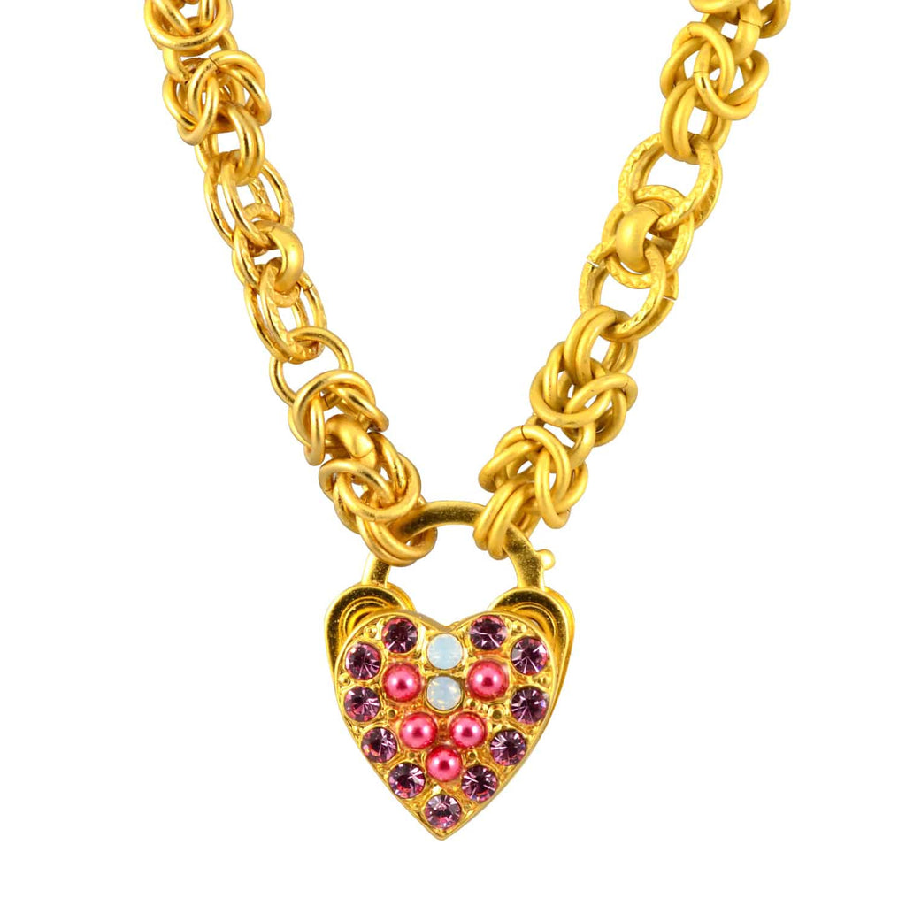 Mariana Jewelry Gold Plated Cherry Blossom Swarovski Crystal Thick Chain Heart Locket Pendant Necklace, 16+4