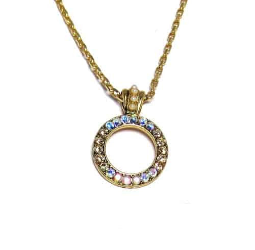 Mariana Gold Plated Swarovski Crystal Circle Pendant Necklace in Crystal Golden Shadow and Rose AB