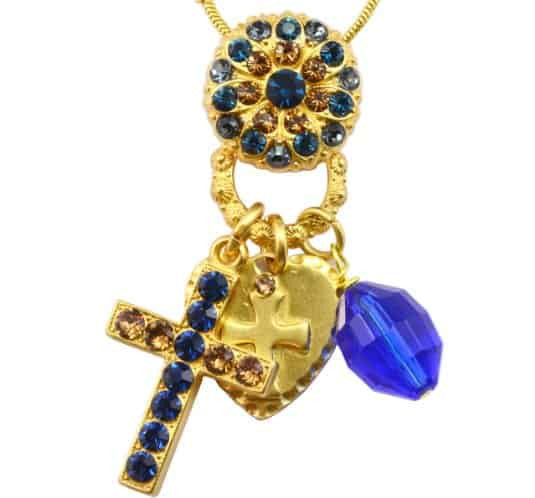 Mariana Jewelry Gold Plated Swarovski Crystal Cross Charm Necklace in Khaki, Capri Blue and Amber, 20+4