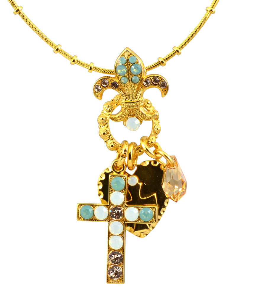 Mariana Jewelry Gold Plated Swarovski Crystal Cross/Fleur de Lis Necklace