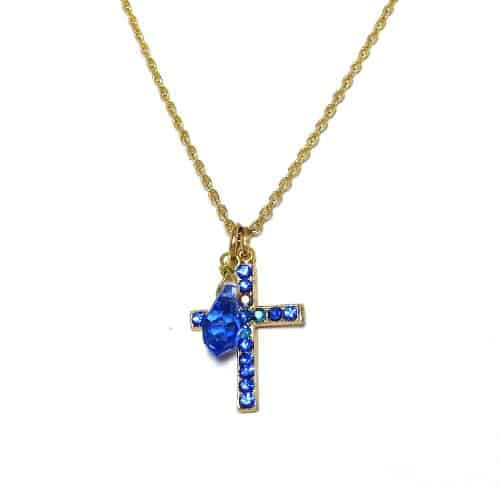 Mariana Jewelry Gold Plated Swarovski Crystal Cross Pendant Necklace in Blue Crystal