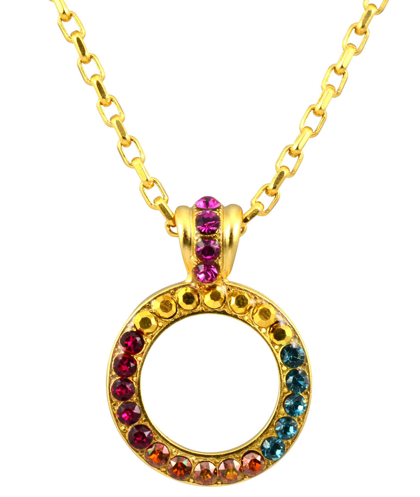 Mariana Jewelry Gold Plated Daphne Swarovski Crystal Circle Pendant Necklace