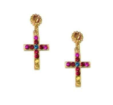 Mariana Jewelry Gold Plated Daphne Petite Cross Swarovski Crystal Drop Earrings
