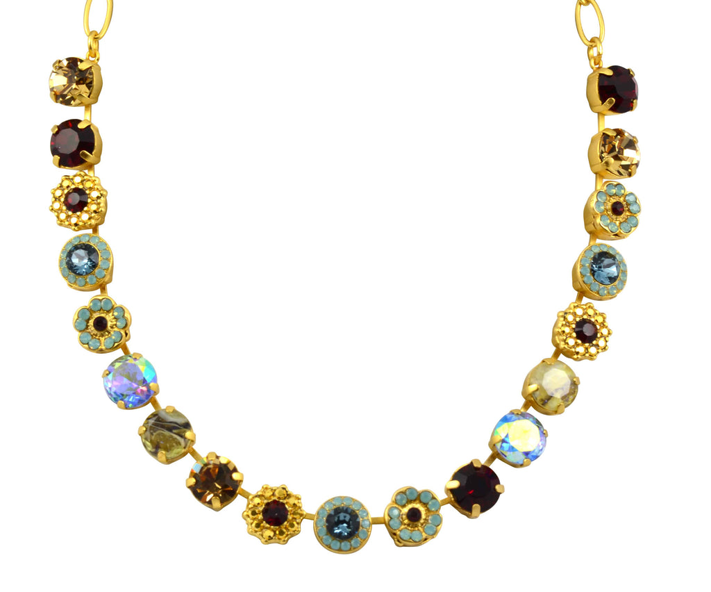 Mariana Gold Plated Dynasty Large Swarovski Crystal Frost and Flower Necklace, 18
