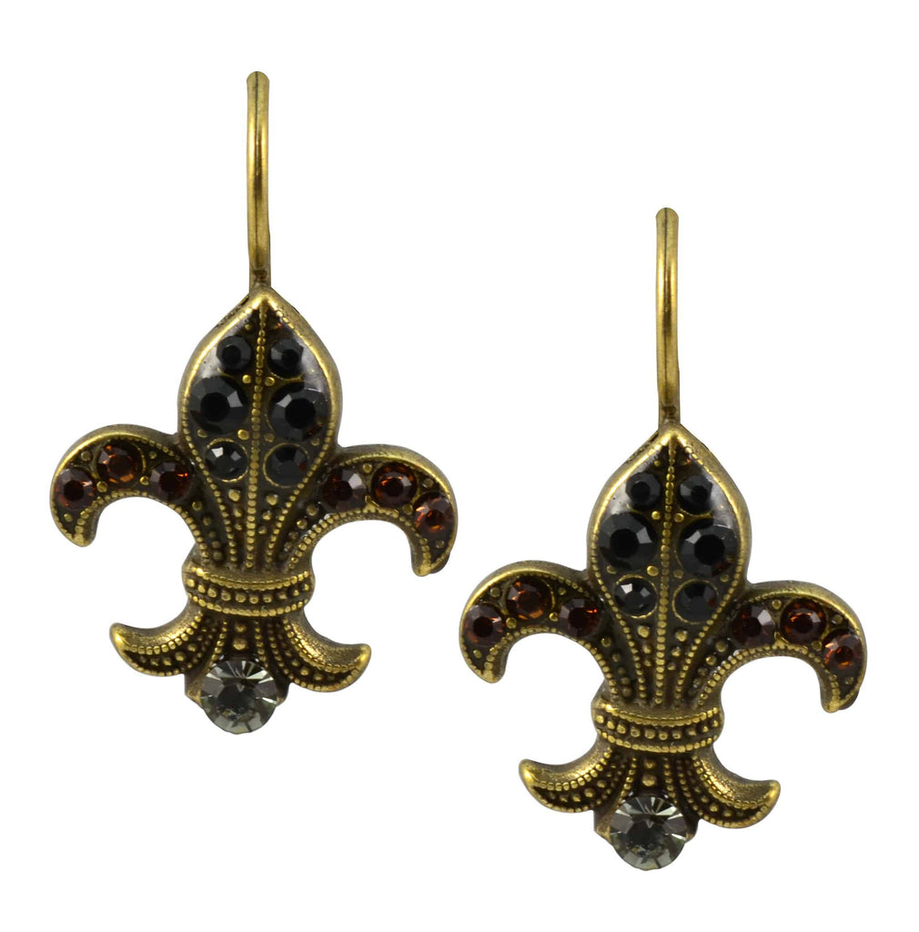 Mariana Jewelry Gold Plated Swarovski Crystal Fleur de Lis Drop Earrings