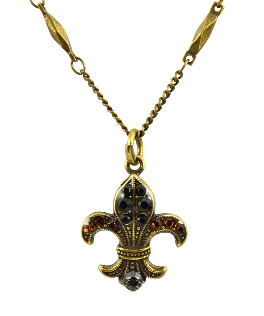 Mariana Jewelry Gold Plated Swarovski Crystal Fleur de Lis Pendant Necklace