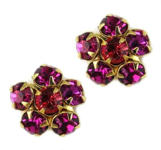 Mariana Gold Plated Flower Bloom Post Earrings with Sunflower and Fuchsia Swarovski Crystal