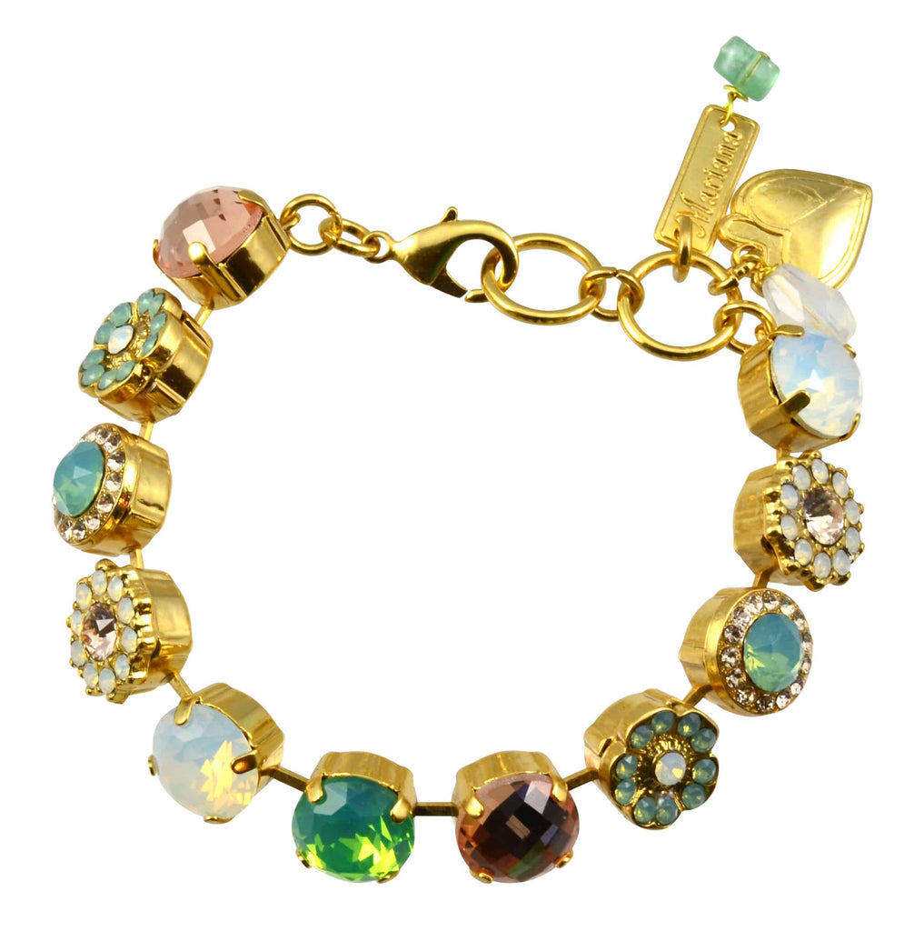 Mariana Gold Plated Flower Swarovski Crystal Tennis Bracelet, 8