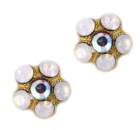 Mariana Gold Plated Flowerlet Swarovski Crystal Post Earrings with Light Rose and Rose Aurore Boreale