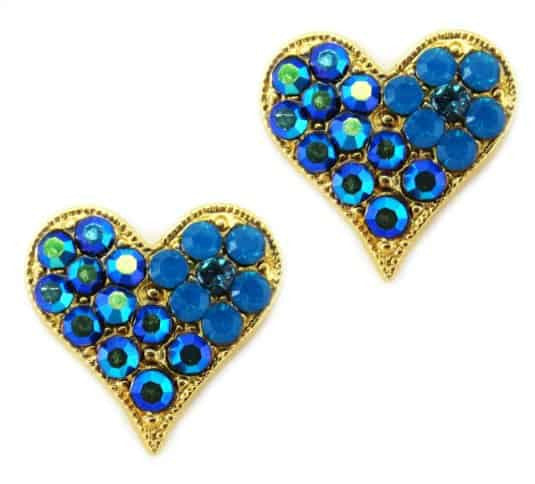 Mariana Gold Plated Heart Post Earrings with Dark Teal and Blue AB Swarovski Crystal