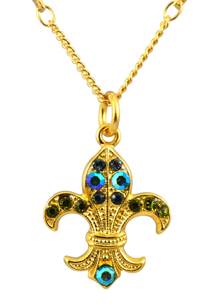 Mariana Jewelry Gold Plated Jade Swarovski Crystal Fleur De Lis Pendant Necklace
