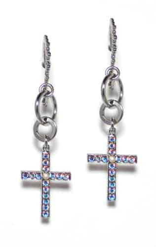 Mariana Gold Plated Swarovski Crystal Jewel and Cross Earrings in Crystal Vitrail Medium and Jet