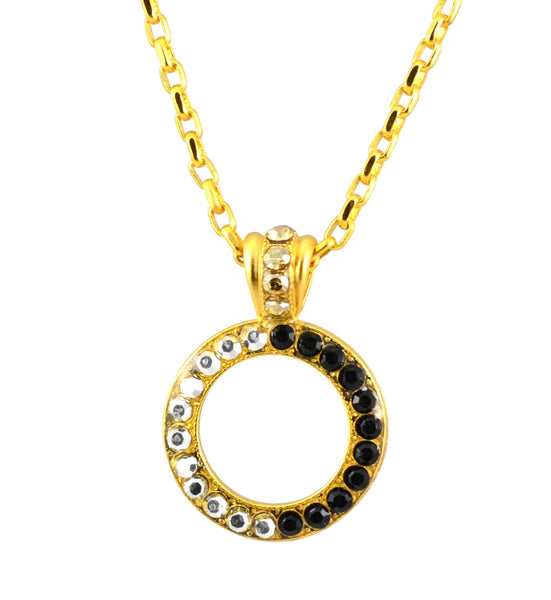 Mariana Gold Plated Midnight in Paris Swarovski Crystal Circle Pendant Necklace