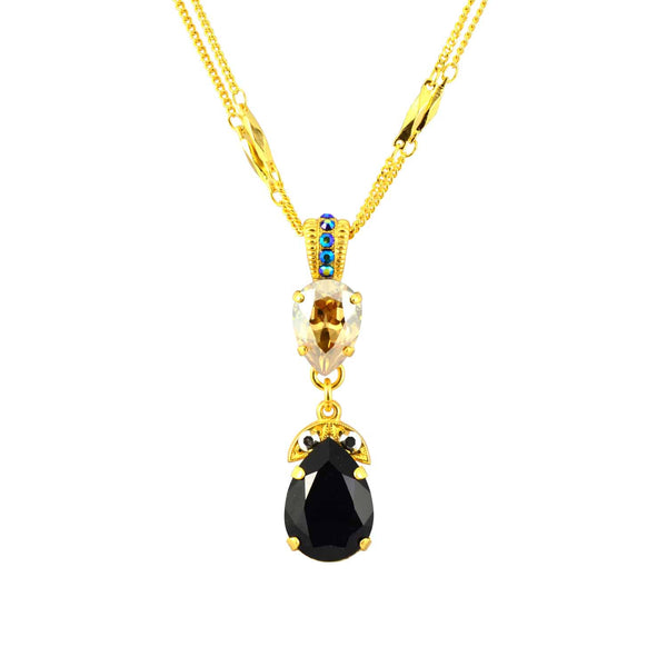 Mariana Gold Plated Midnight in Paris Swarovski Crystal Long Teardrop Double Chain Pendant Necklace, 14+4