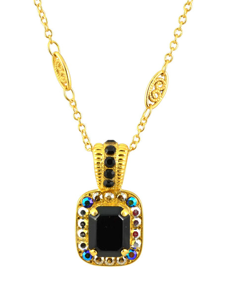 Mariana Gold Plated Midnight in Paris Rectangle Swarovski Crystal Pendant Necklace, 14+4