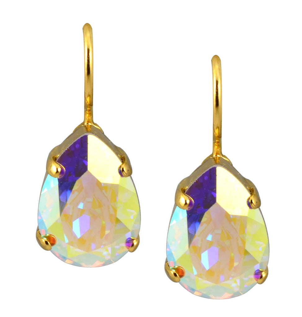 Mariana Jewelry Gold Plated Raindrop Swarovski Crystal Drop Earrings in Aurore Boreale
