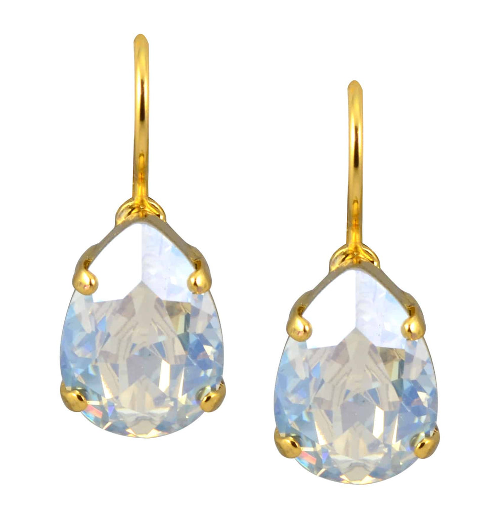 Mariana Jewelry Gold Plated Raindrop Swarovski Crystal Drop Earrings in Clear Crystal Moonlight