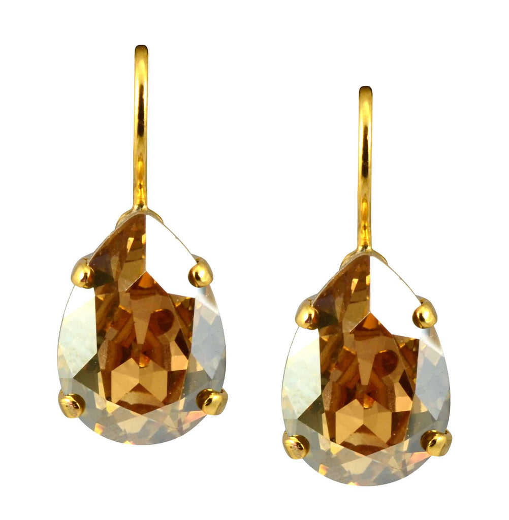 Mariana Jewelry Gold Plated Raindrop Swarovski Crystal Drop Earrings in Dark Champagne