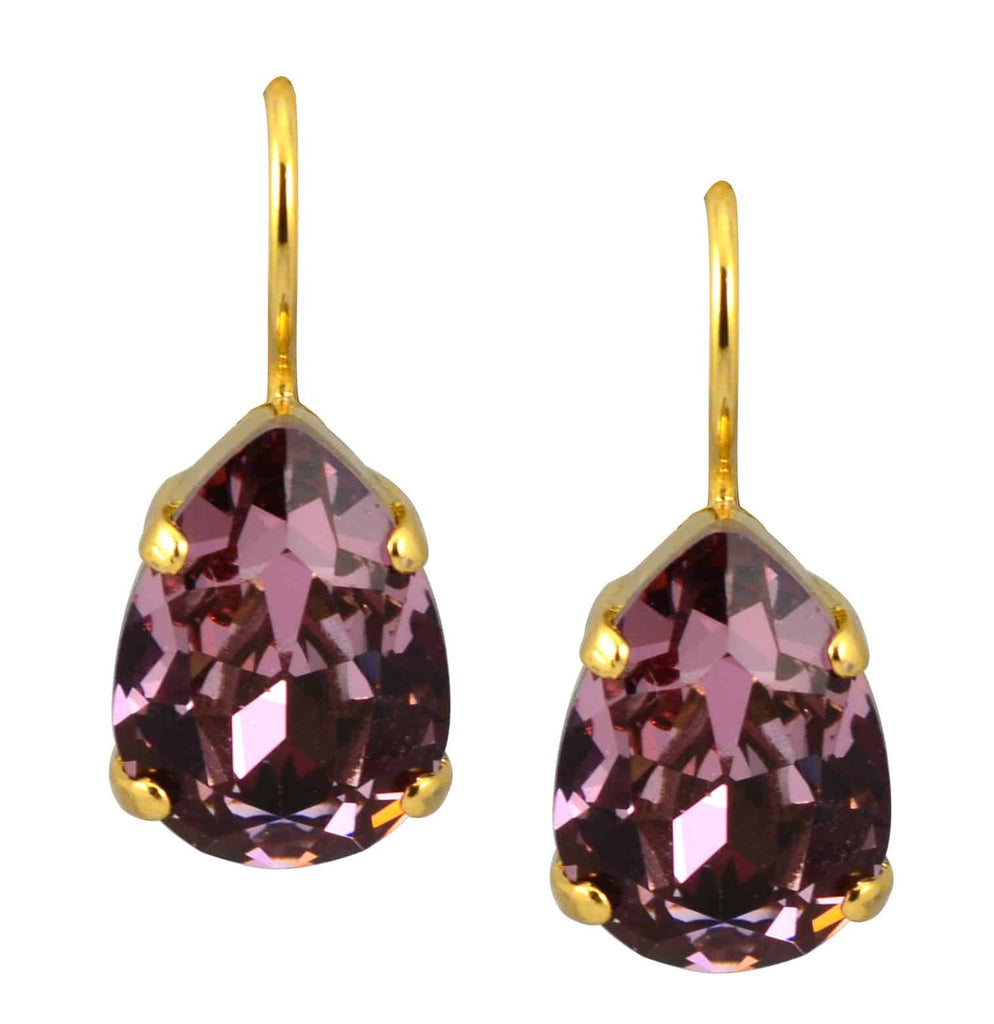 Mariana Jewelry Gold Plated Raindrop Swarovski Crystal Drop Earrings in Dark Rose