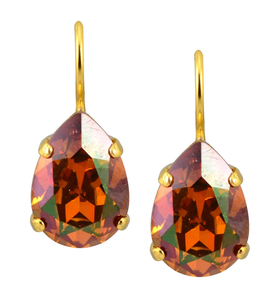 Mariana Jewelry Gold Plated Raindrop Swarovski Crystal Drop Earrings in Deep Fawn