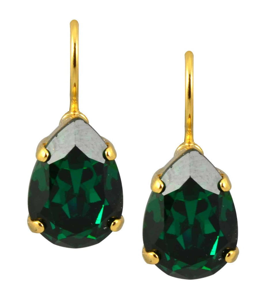 Mariana Jewelry Gold Plated Raindrop Swarovski Crystal Drop Earrings in Green