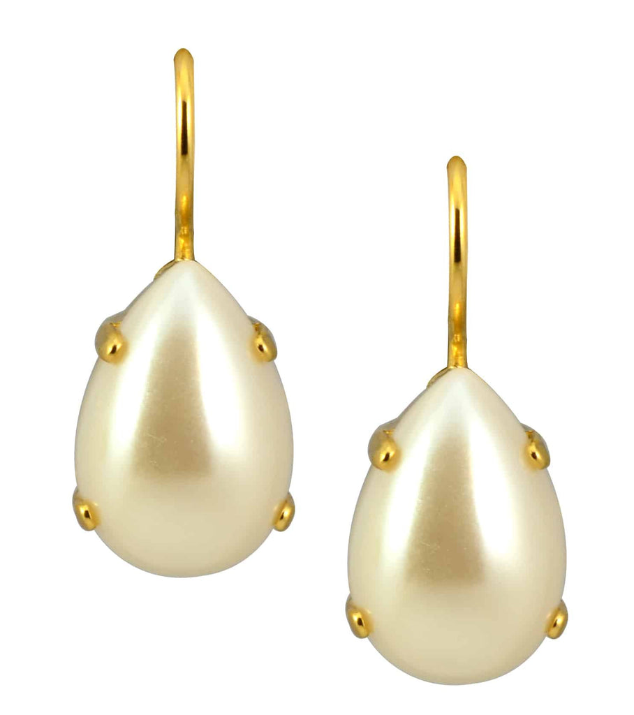 Mariana Jewelry Gold Plated Raindrop Swarovski Crystal Drop Earrings in Pearl