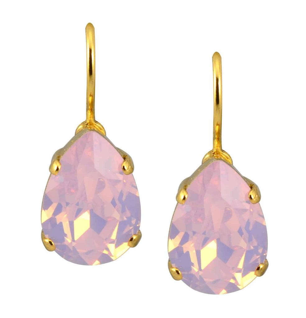 Mariana Jewelry Gold Plated Raindrop Swarovski Crystal Drop Earrings in Vintage Rose