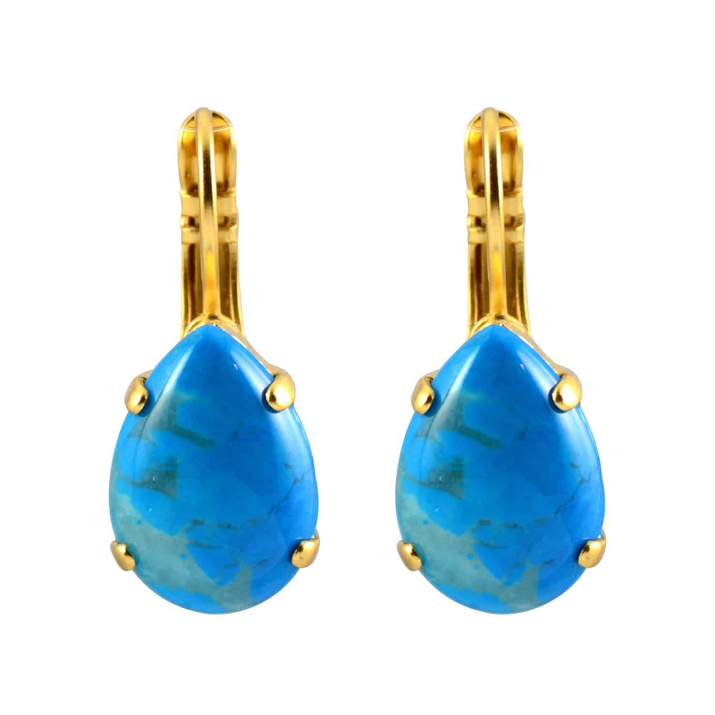 Mariana Jewelry Gold Plated Raindrop Swarovski Crystal Drop Earrings in Teal