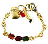 Mariana Gold Plated Swarovski Crystal Rectangle Bracelet with Red Encrusted Lobster Claw Clasp