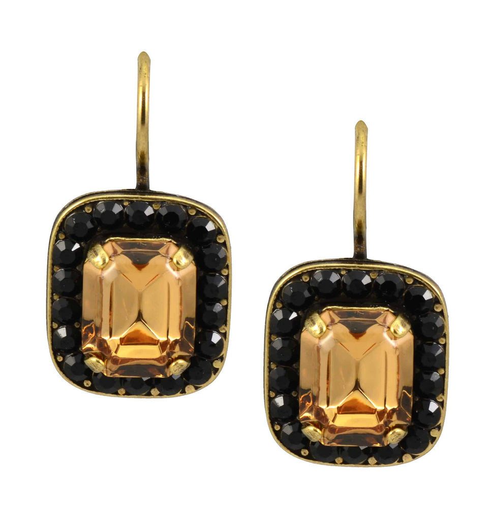 Mariana Gold Plated Swarovski Crystal Rectangle Drop Earrings