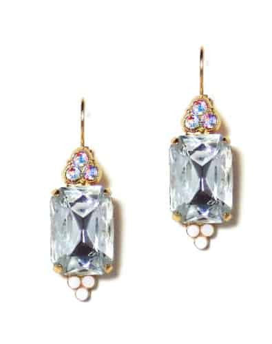 Mariana Jewelry Gold Plated Rectangle Swarovski Crystal Drop Earrings