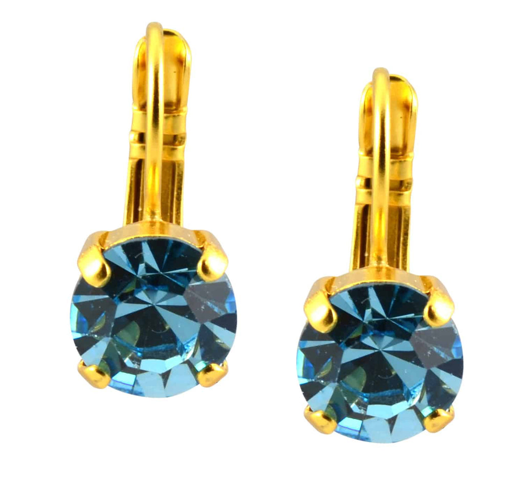 Mariana Jewelry Gold Plated Petite Round Swarovski Crystal Drop Earrings