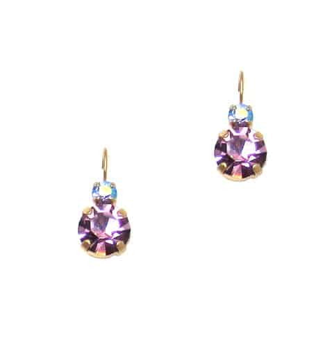 Mariana Jewelry Gold Plated Petite Round Swarovski Crystal Drop Earrings in Light Purple and Light Rose