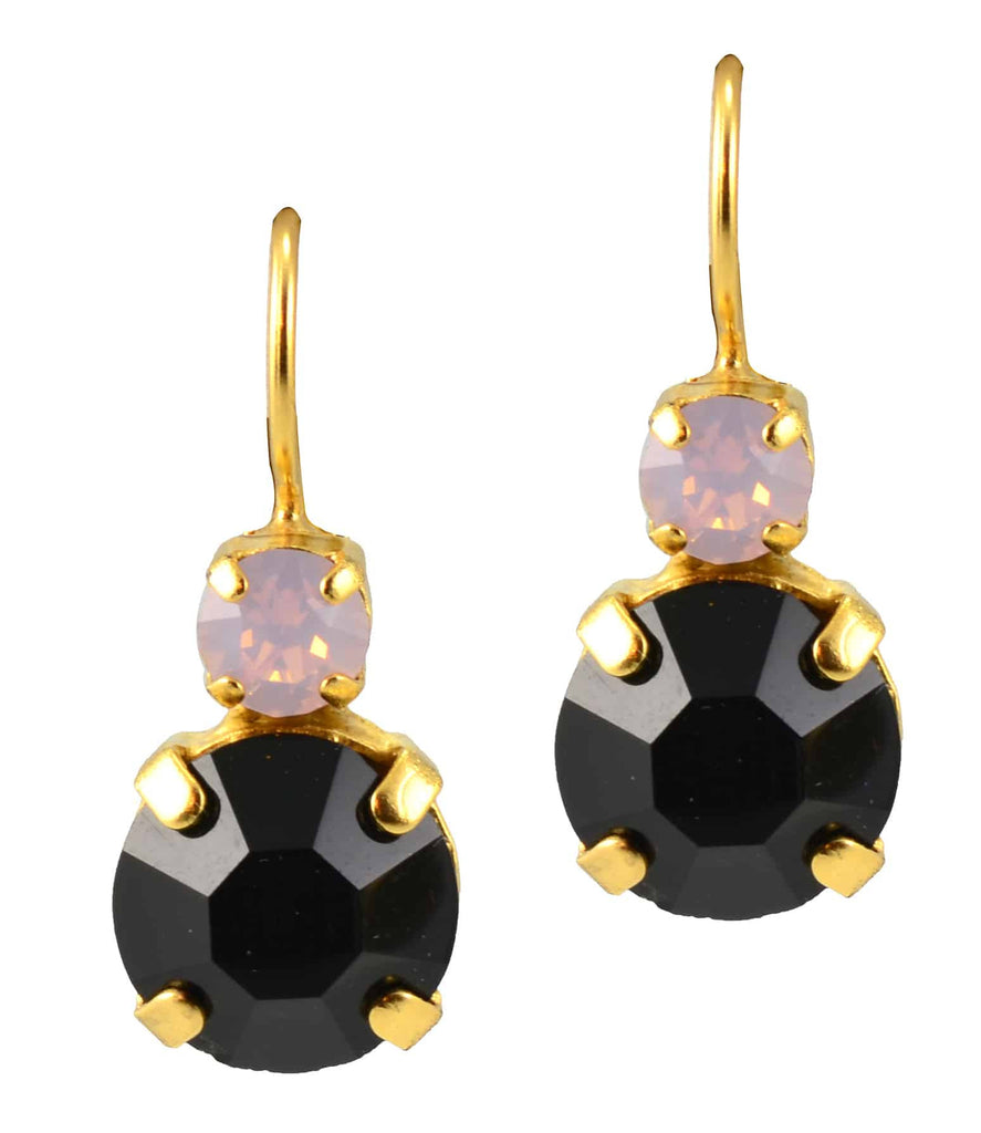 Mariana Gold Plated Petite Round Swarovski Crystal Drop Earrings in Light Rose and Jet