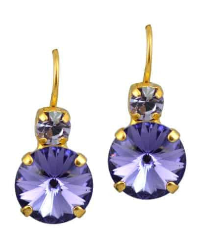 Mariana Gold Plated Petite Round Swarovski Crystal Drop Earrings in Provence Lavender and Medium Purple
