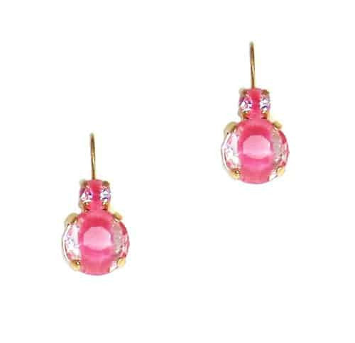Mariana Gold Plated Petite Round Swarovski Crystal Drop Earrings in Rose