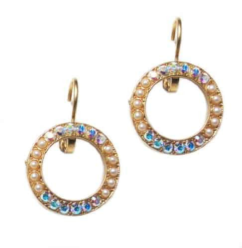 Mariana Gold Plated Swarovski Crystal Round Earrings