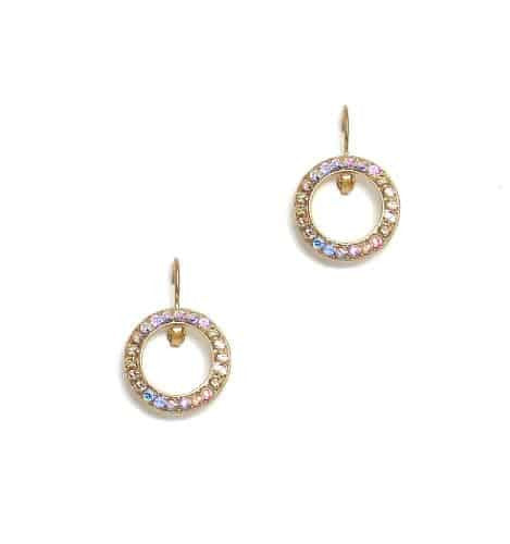 Mariana Jewelry Gold Plated Swarovski Crystal Round Earrings in Crystal Golden Shadow and Rose AB