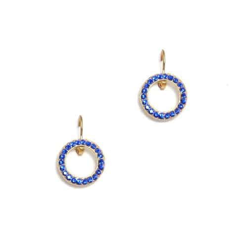 Mariana Jewelry Gold Plated Swarovski Crystal Round Earrings in Navy Blue Crystal