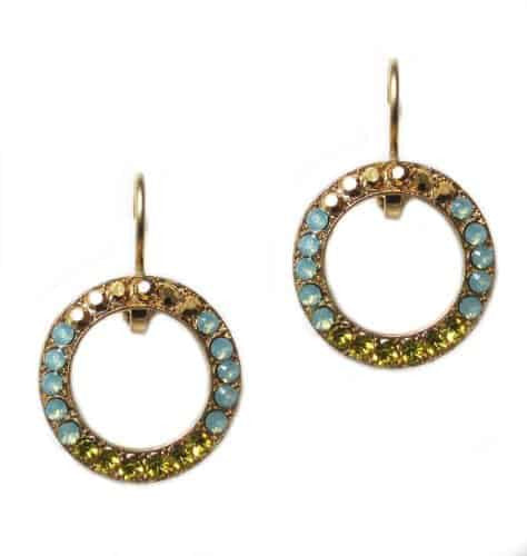 Mariana Jewelry Gold Plated Swarovski Crystal Round Earrings in Olive, Pacific Opaque, and Crystal Dorado