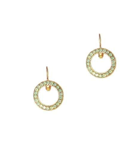 Mariana Gold Plated Swarovski Crystal Round Earrings in Pacific Opaque Crystal