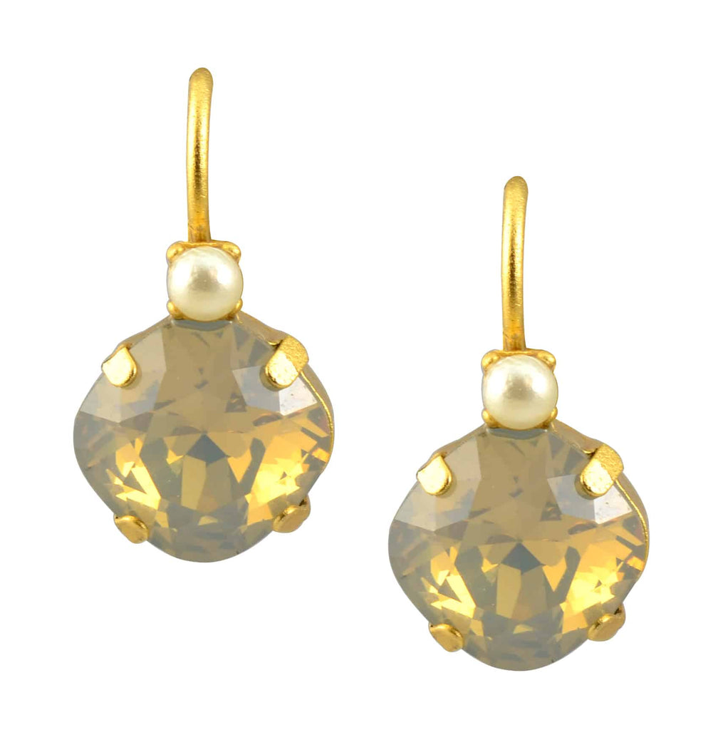 Mariana Jewelry Gold Plated Round Petite Stack Swarovski Crystal Drop Earrings