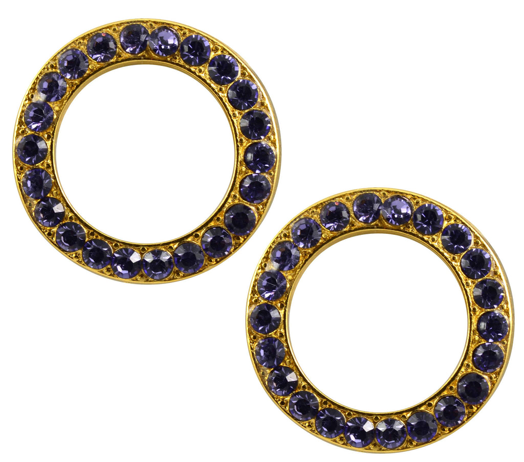 Mariana Gold Plated Swarovski Crystal Round Stud Earrings in Medium Purple