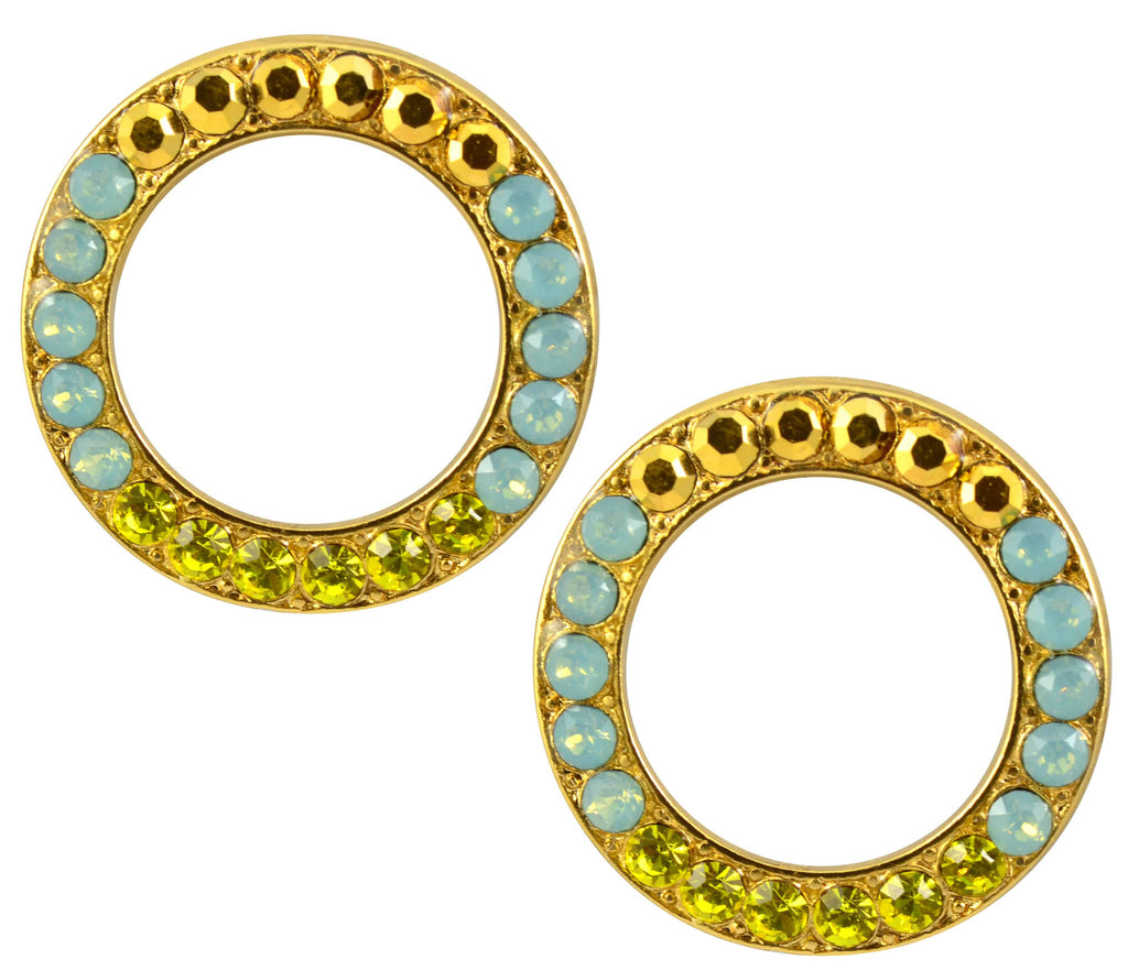 Mariana Jewelry Gold Plated Swarovski Crystal Round Stud Earrings in Olive, Pacific Opaque, and Crystal Dorado