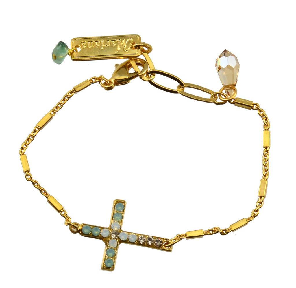 Mariana Jewelry Gold Plated Swarovski Crystal Sideways Cross Bracelet