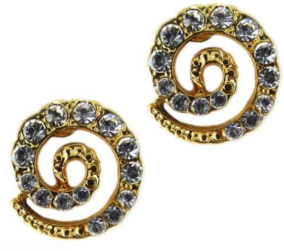 Mariana Jewelry Gold Plated Spiral Post Earrings with Clear Swarovski Crystal