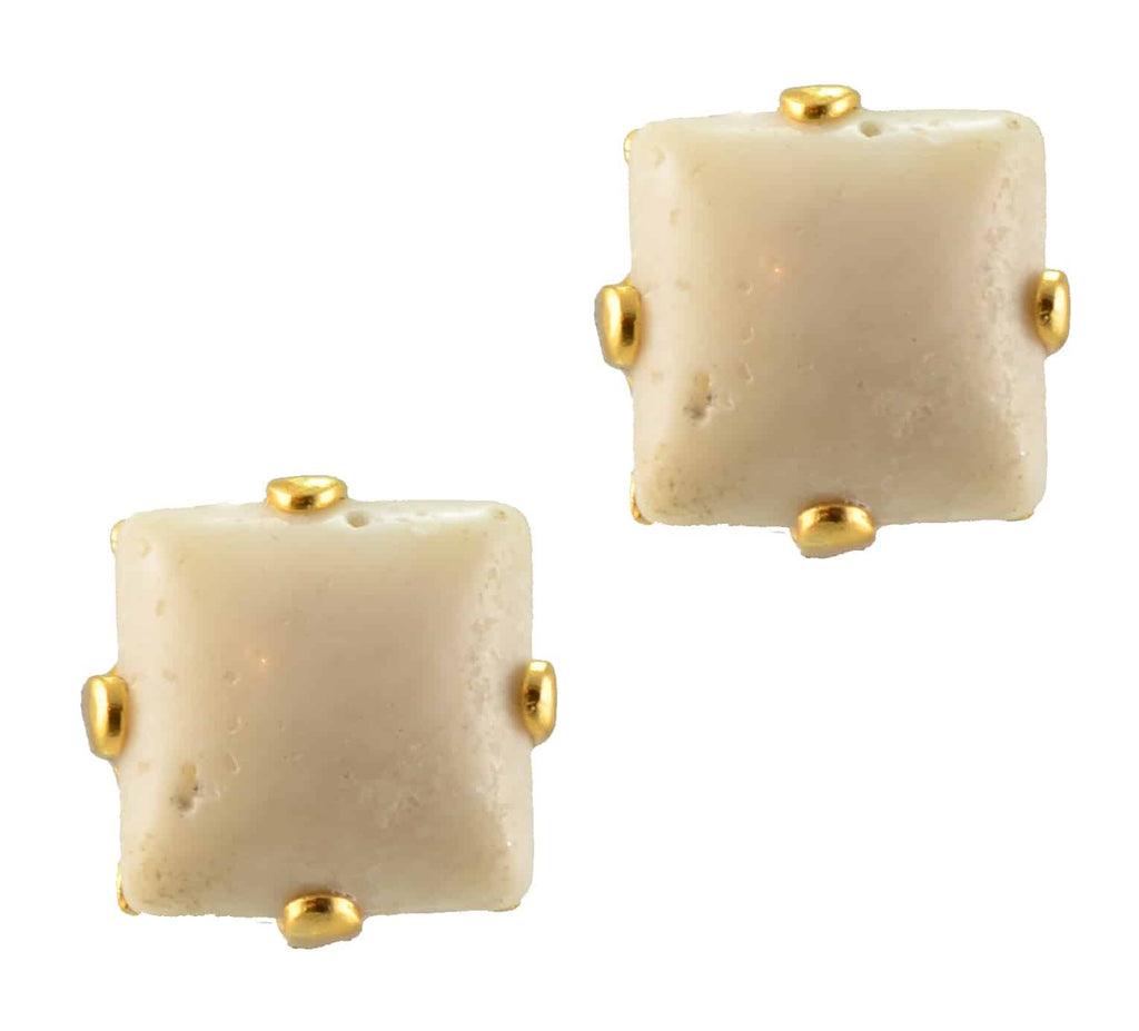 Mariana Jewelry Gold Plated Square Mineral Post Earrings in Chalkwhite
