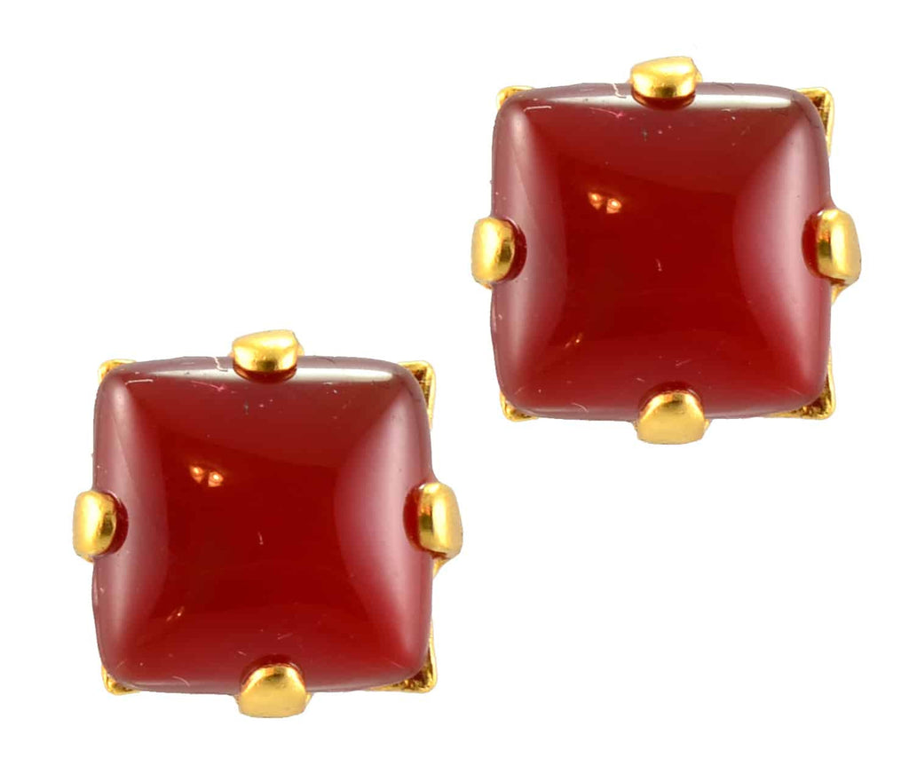 Mariana Gold Plated Square Mineral Post Earrings in Red Red