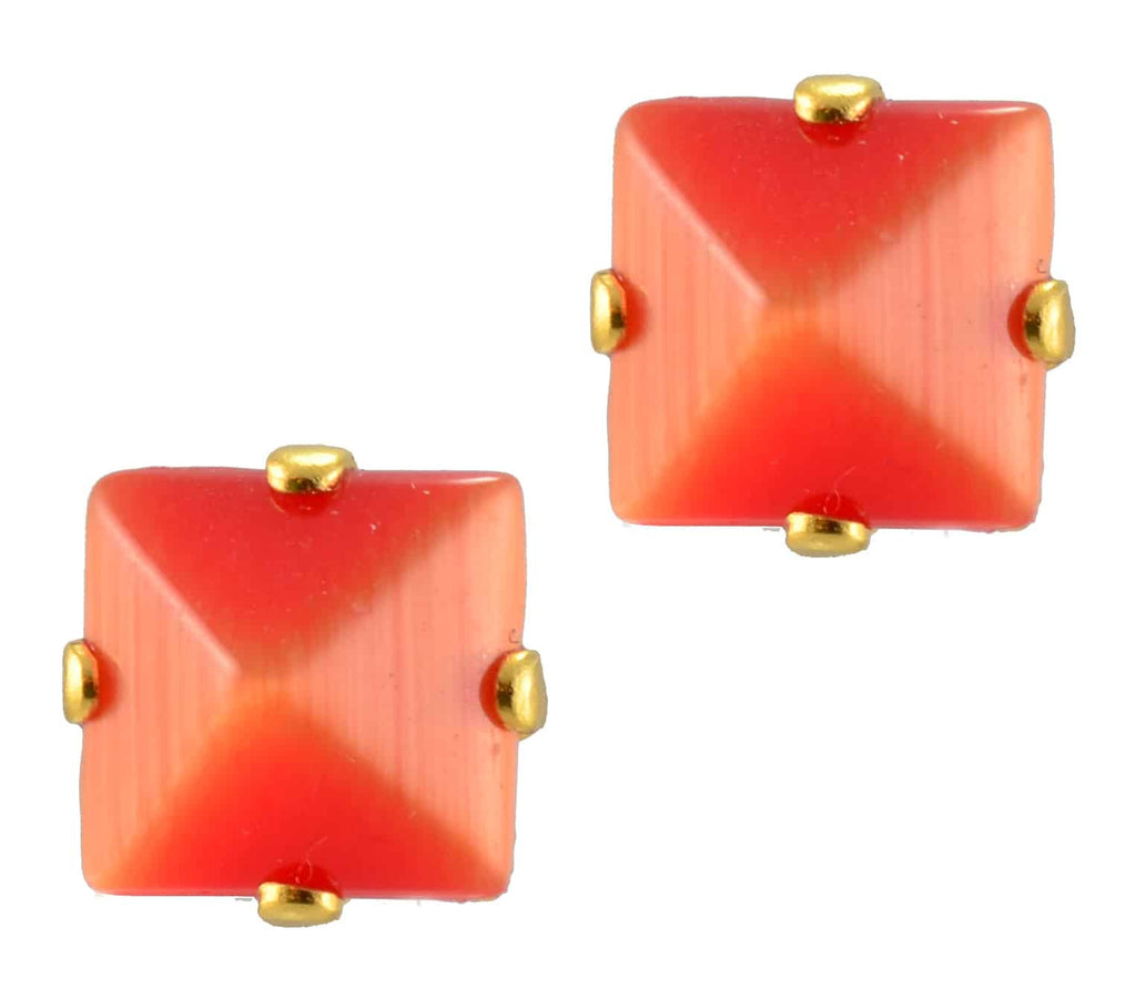 Mariana Gold Plated Square Swarovski Crystal Post Earrings in Coral
